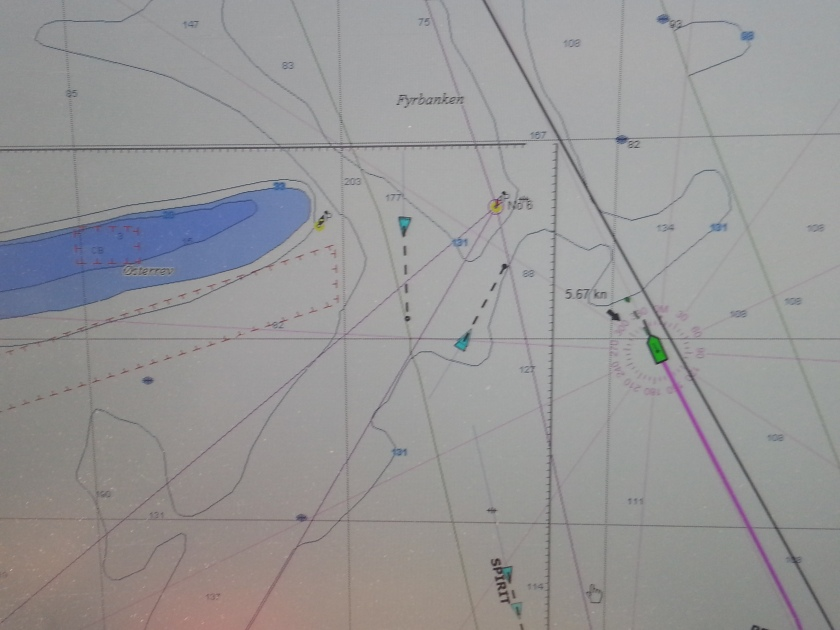 Coastal Explorer AIS depiction of the ships off Anholt Island, everyone is heading for the same point to head north. the dashed lines in front of each ship represent the distance the ship will do int he next 6 minutes.