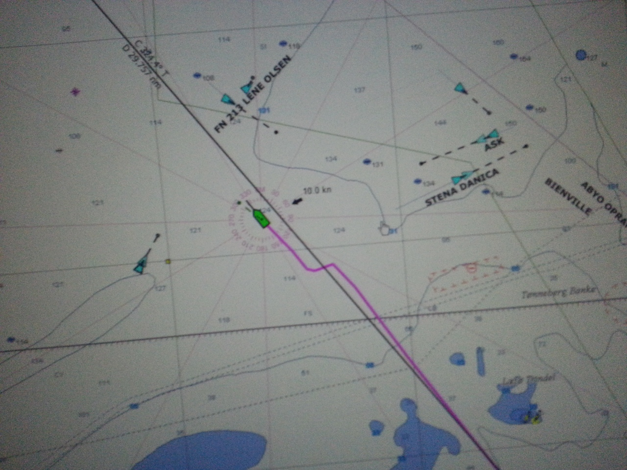 """Dauntless track in magenta showing the jog we did to avoid one of these large ships, the Stena Danica. This was actually midnight, but I put the screen on """"daylight"""" because i needed to make sure i understood the situation."""