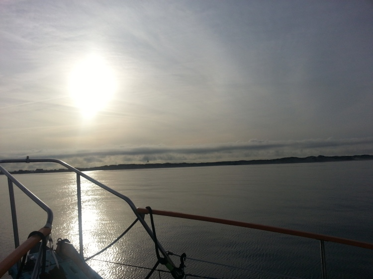Thursday morning, anchored just west of the Skagen Peninsula. Clouds are cirrusstratus