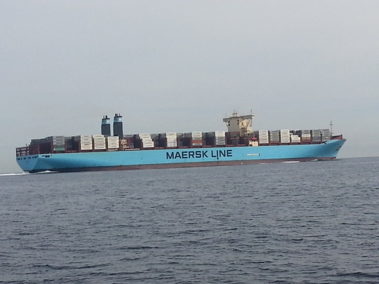 The Matz Maersk. This ship produced a tremendous wake, more than 6 feet, with breaking waves!