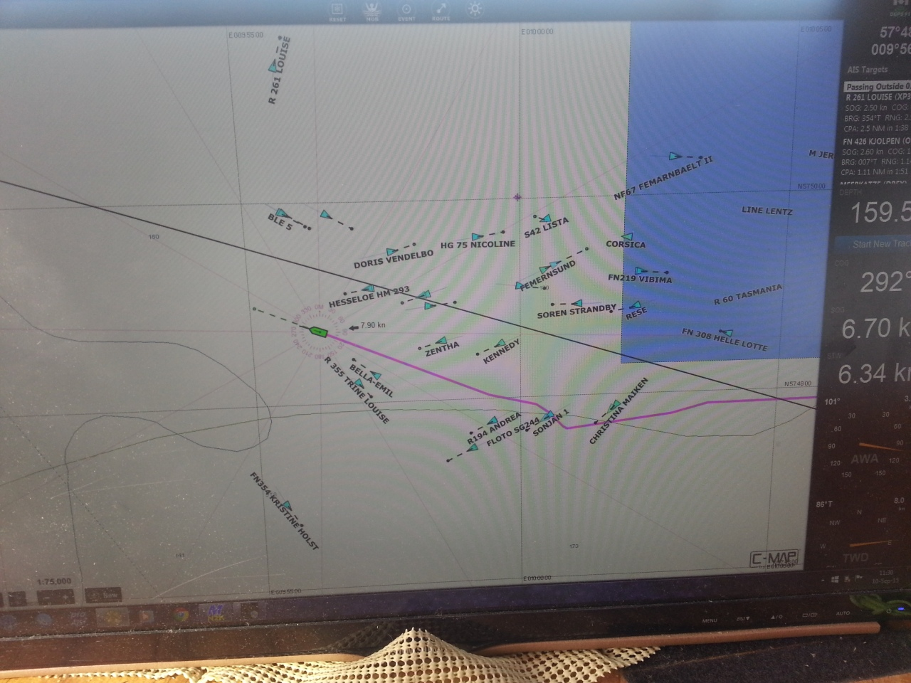 The AIS depiction in Coastal Explorer of the same fishing fleet