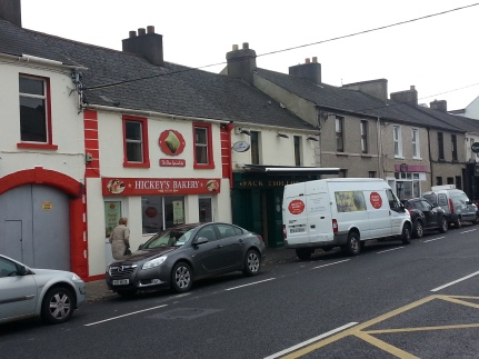 The Bread baker on the left,the butcher on the right, John Molly's, is hidden behind the truck.