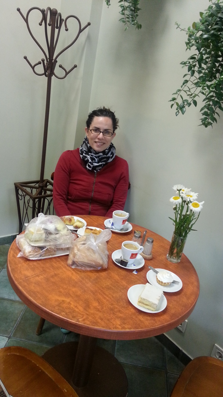 The Same Bakery in Liepaja.  this repast, including the THREE bags on the table, and the two coffees cost $8 U.S.
