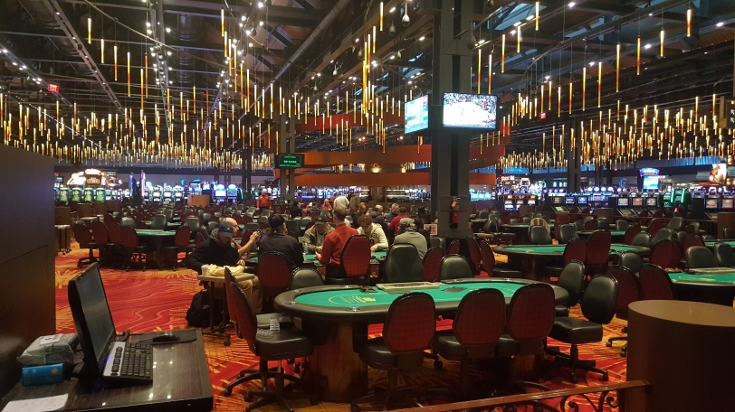 The Sands Casino Saturday afternoon. Only three poker tables and even fewer folks playing slots.