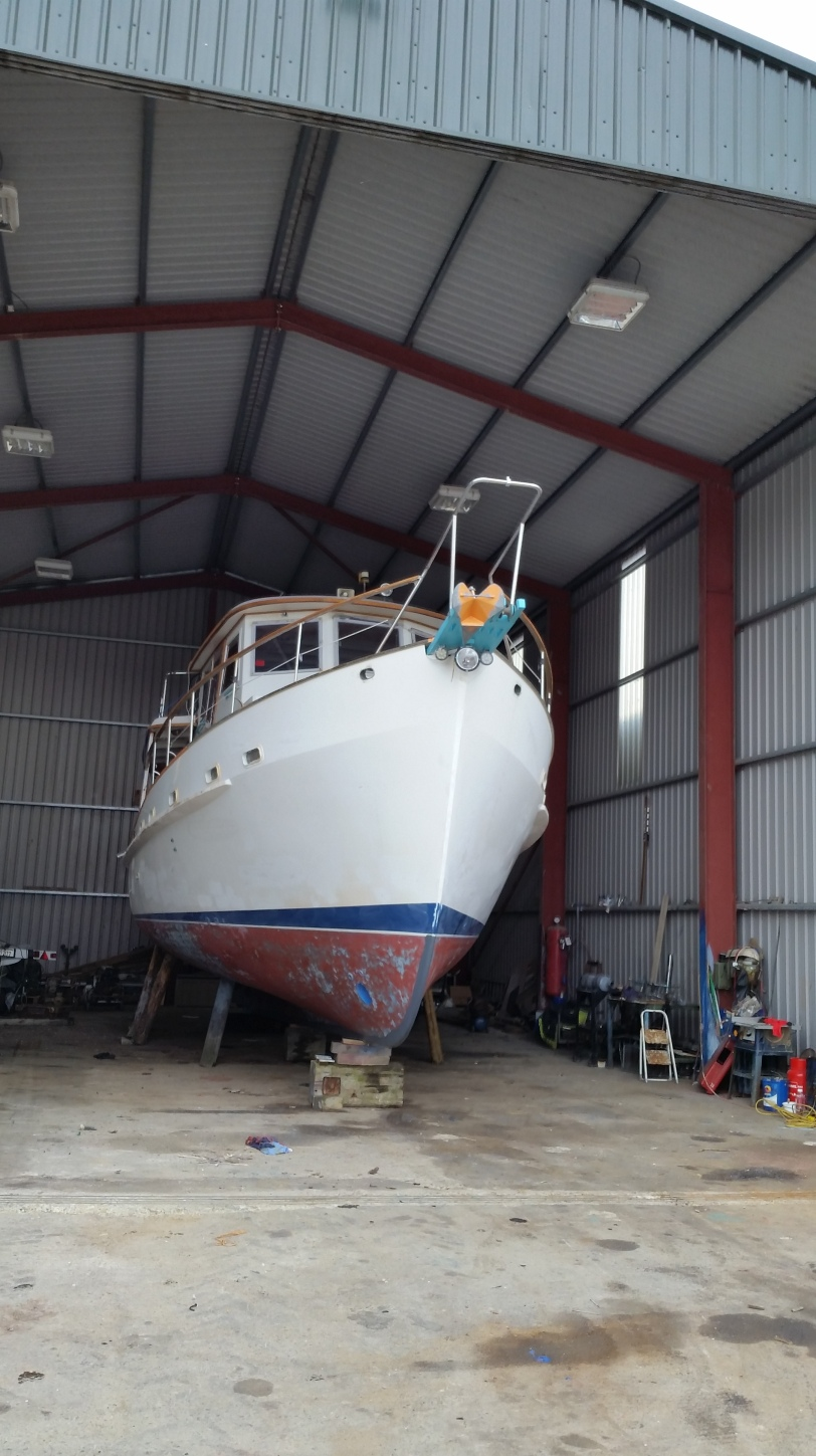 Dauntless in the Shed. The Shed looked much bigger before she went it.