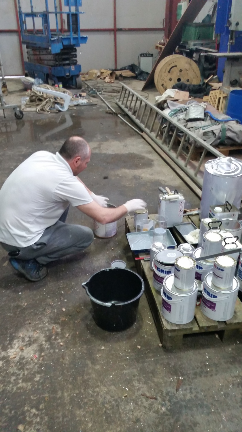 Gary Mooney, the GRP and Painter, was meticulous in mixing and applying the AWLGRIP paints.