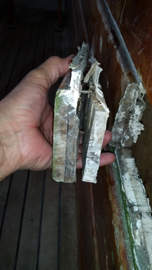 This is what was cut out of the inner gunnel. The picture below is the piece on the right.
