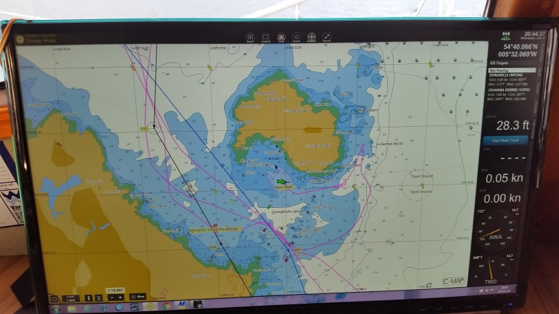 Chart showing us driving around Copeland Island looking for a less windy place to anchor